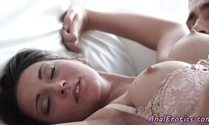 Busty beauty in stockings receives buttfucked