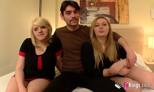 Blonde cousins introducing the chap they started having sex with