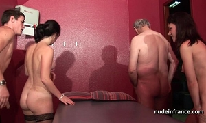 Young french hotties group-fucked and sodomized in 4some with papy voyeur