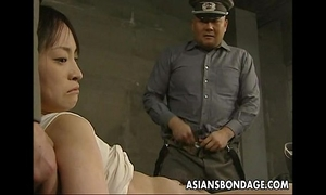 Japanese chick held down and stuffed with chunky knobs