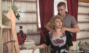 Mother-in-law jumps at his large pecker as his housewife leaves