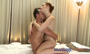 Massage rooms youthful golden-haired and red head receive unfathomable big O from large rod